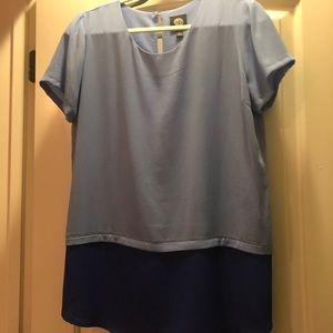 Bobeau Blue Colorblock Blouse
